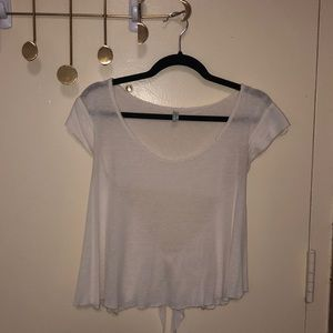 Free people open back white tee
